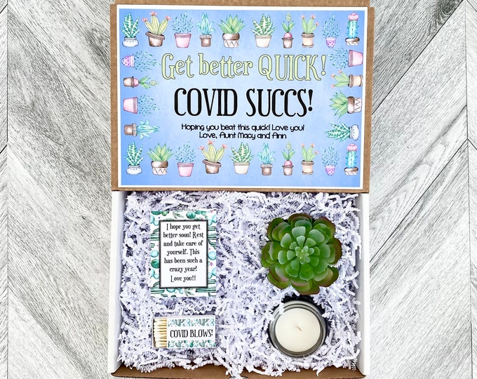 Succulent Gift Box - COVID SUCCS feel better - Covid Gift Box Set  - Get well soon