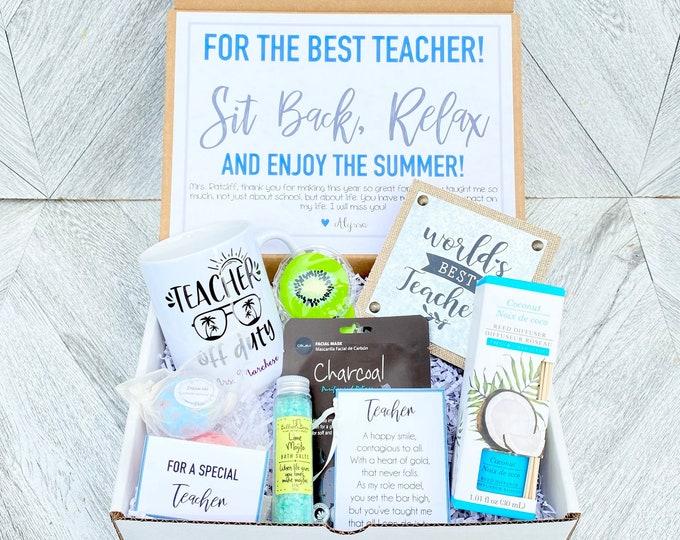 Teacher Gift Box Set - Complete Teacher Spa Set with Mug and Plaque - Teacher is Off Duty