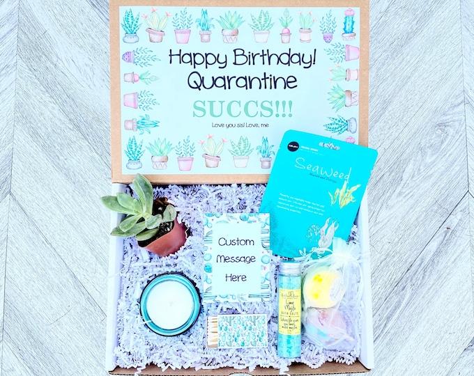 Quarantine SUCCS - Succulent Birthday Quarantine Gift Spa Set - Bath Salts - Bath Bombs - Candle and matches