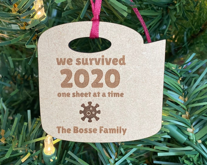 Christmas 2020 Ornament - We Survived 2020 - Family Name Engraved Wood Ornament - Pandemic Ornament