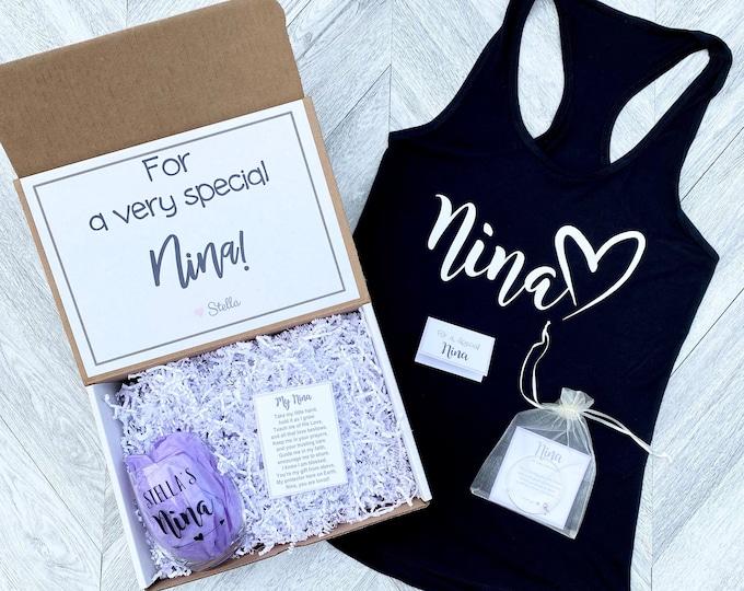 Nina Gift - For a Special Nina Gift Box - Nina Tank and Wine Glass Gift Box - Personalized Nina Gift - Will you be My Nina Box