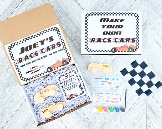 Create your Own Race car - Name Engraved Personalized Race Cars - DIY Race Car - Paint Race car Kit