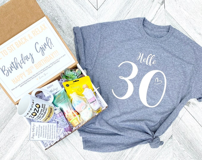 Pandemic Birthday Gift Set - HELLO 30 Spa gift box with Birthday Girl Shirt - Mug or Shot Glass - Complete Spa Items - Succulent and Candle