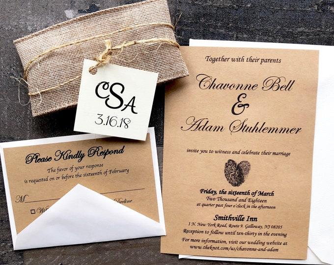 Rustic, Vintage, Twine and Doily Wedding Invitation