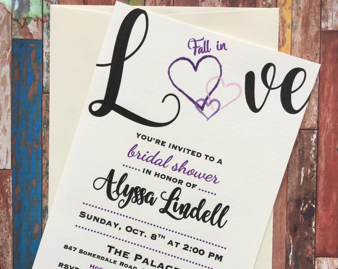 Fall in Love Bridal Shower Invitations Fall, Autumn themed shower