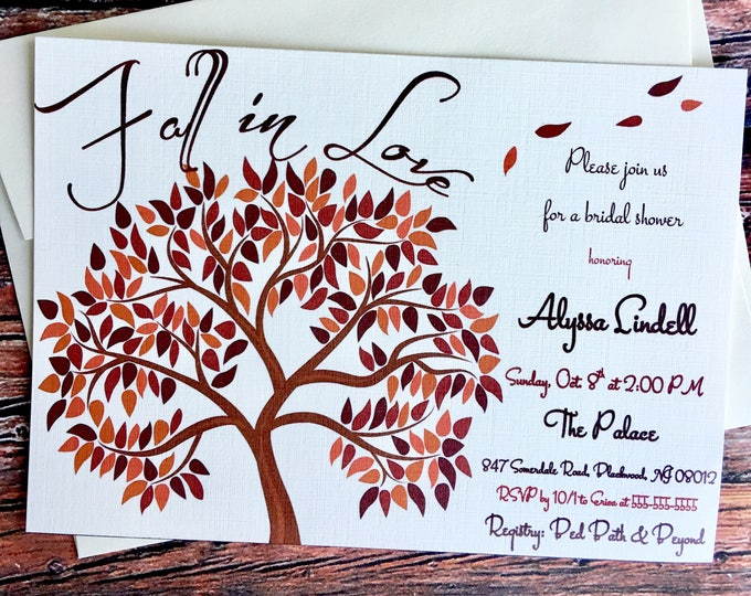 Fall in Love Bridal Shower Invitations Fall, Autum leaves theme shower, Fall in Love Tree