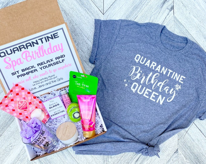 Quarantine Birthday Gift Spa Set - Spa gift box with Quarantine Vodka glass - You are Essential