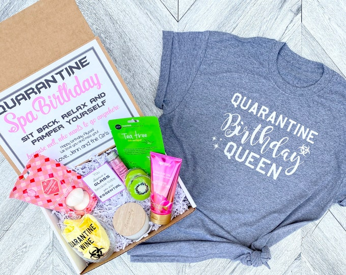 Quarantine Birthday Gift Spa Set - Spa gift box with Quarantine Wine glass - You are Essential