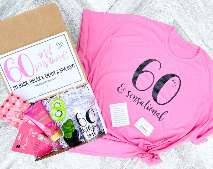 Spa Birthday Gift Set - 60 and Sensational - Spa gift box with Birthday Girl Shirt - Tumbler - Complete Spa Items and Spa Candle