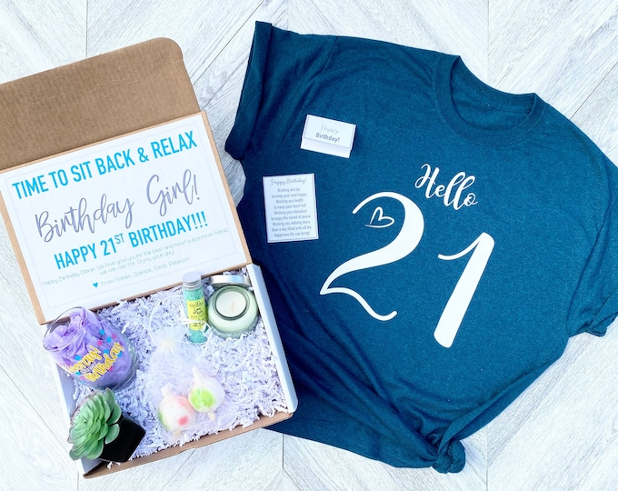 Spa Birthday 21 Gift Set - HELLO 21 Spa gift box with Birthday Girl Shirt - Birthday Wine - Complete Spa Items - Succulent and Candle