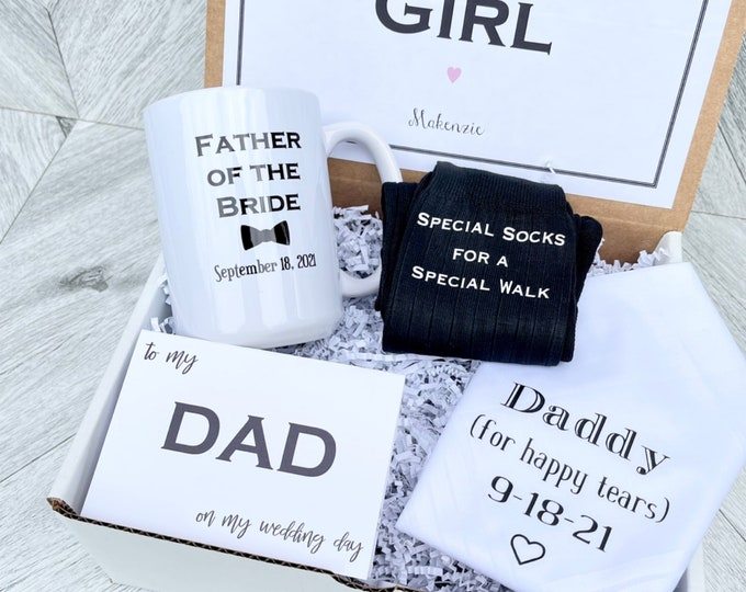 Father of the Bride Gifts (Create your Box) - Handkerchief, Mug, Special Socks for a Special Walk