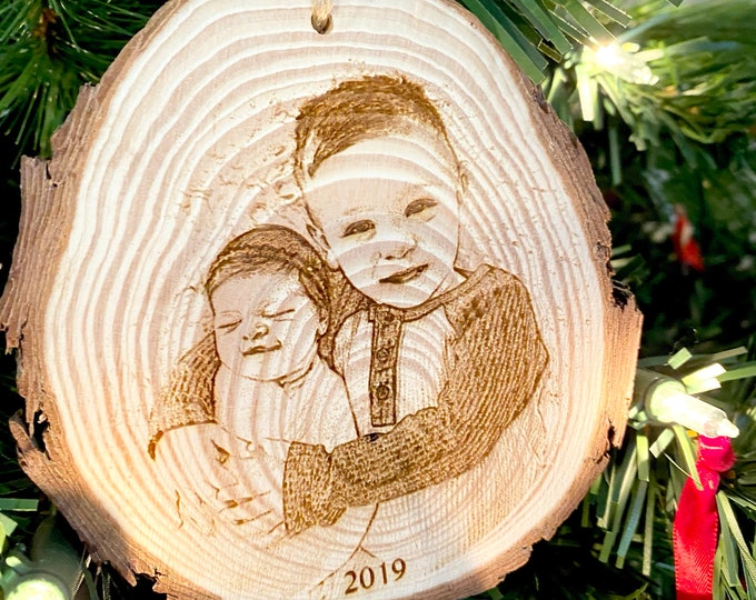 Photo Ornament - Personalized Wood Engraved - Laser Engraved Photo Ornament - Christmas Photo
