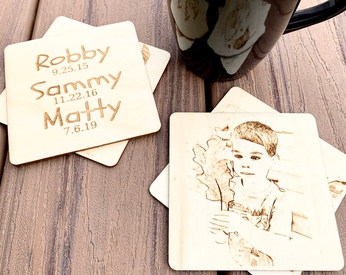 Photo Coasters - Wood Engraved Personalized Coasters - Set of 4