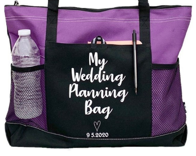 Wedding Planning Bag - Cruiser Tote - Large Personalized Tote bag with Wedding Date