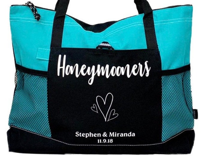 Honeymoon Bag - Cruiser Tote - Large Personalized with Bride and Groom Names and Wedding Date