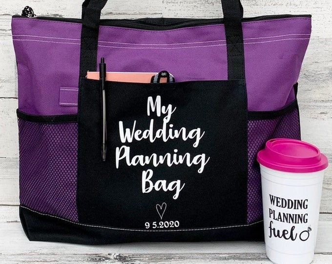 Wedding Planning Bag and Coffee Travel Mug- Cruiser Tote - Large Personalized Tote bag with Wedding Date