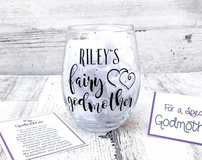 Fairy Godmother Wine Glass with Poem and Note Card - Name customized Godmother Wine gift