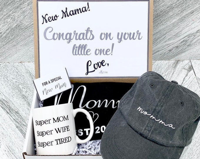 New Mom Gift Set - Mom Hat - Mom shirt - Mom Mug - Mom Established Gift Box with Personalized Message