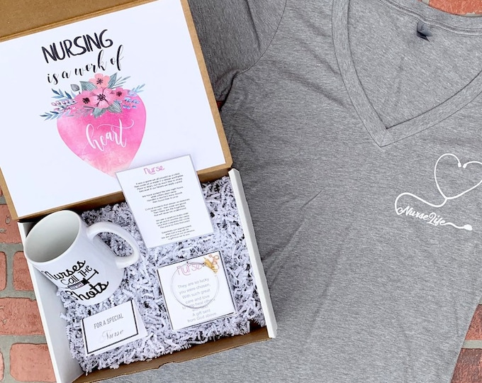 Nurse Gift - Nurse Gift Set - Gift box for nurses with Shirt, bracelet, mug, and a special Poem Card