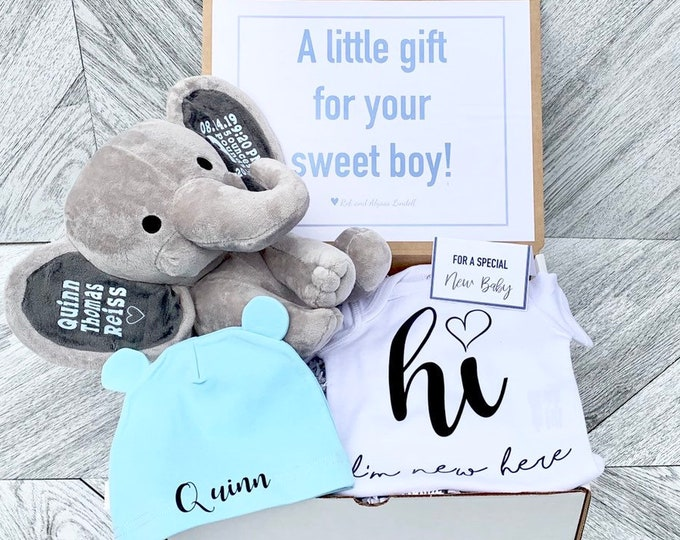 Newborn Baby Gift Box - Personalized Elephant, Onesie, and Beanie - Newborn Box of Gifts - Baby Statistics and Personalized Attire