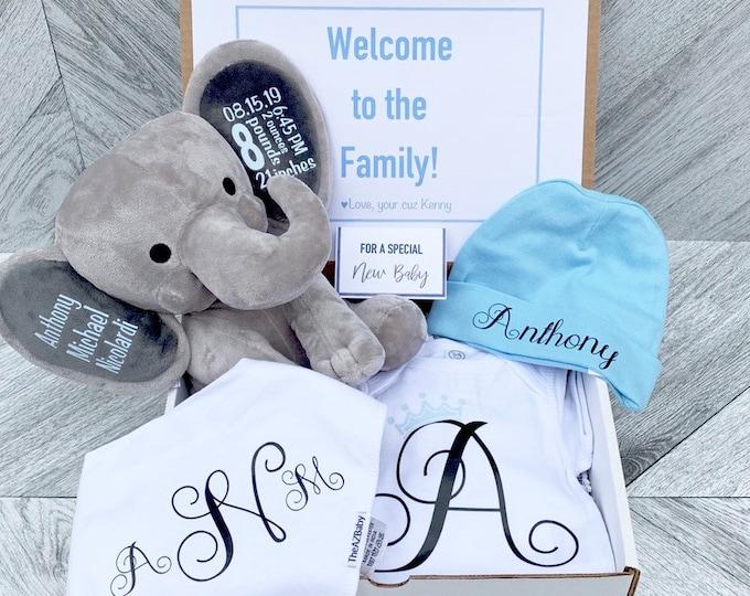 Newborn Baby Gift Box - Personalized Elephant, Onesie, Bib, and Beanie - Newborn Box of Gifts - Baby Statistics and Personalized Attire