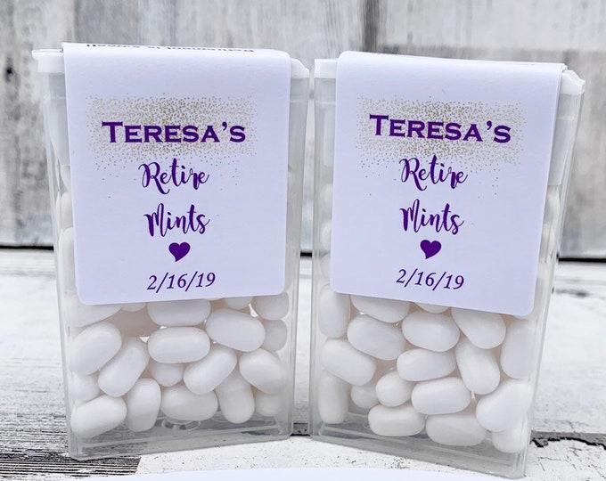 Retiremints Labels - Tic Tac Favors for a Retirement Party - Color Customizable