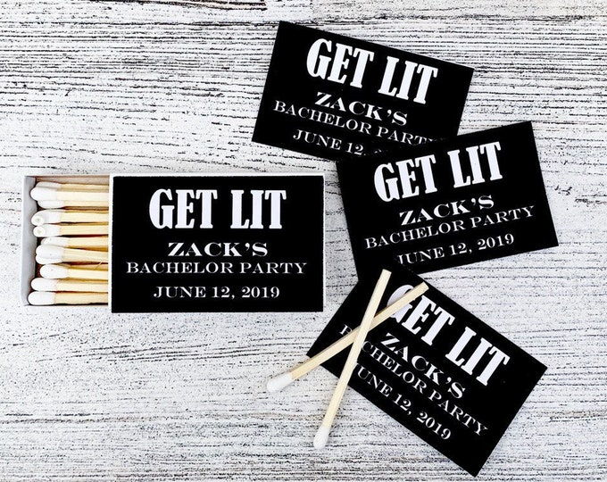 Matchbox Bachelor Party Favors - Black and White Matchbox Favors - Matchbox Favors Bridal Party - Customizable