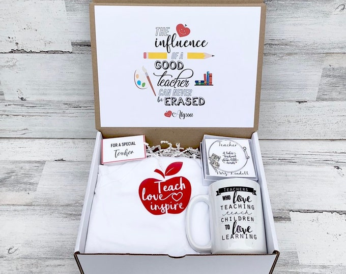 Teacher gift Box - Personalized Teacher Gift - Teacher Gift Set with Shirt, Teacher Mug, and Bracelet
