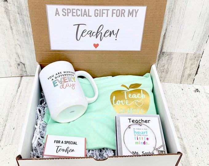Teacher gift Box - Personalized Teacher Gift - Teacher Gift Set with Shirt, Teacher Mug, and Bracelet