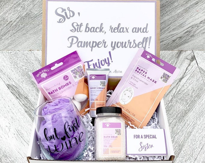 Sister Gift Spa Set - Spa gift box with French Lavender and Citrus and wine glass