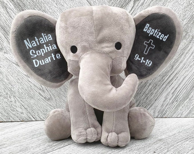 Baptism Gift Baby Elephant for New Baby - Stuffed Animal Elephant with Baby Baptism Date