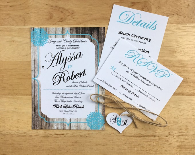 Rustic Teal Wedding Invitations - Summer themed wedding - Wood Panel rustic and twine