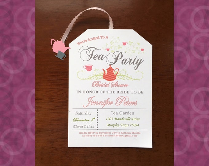Tea Party Bridal Shower Invitations- Love is brewing! Pink and Gray