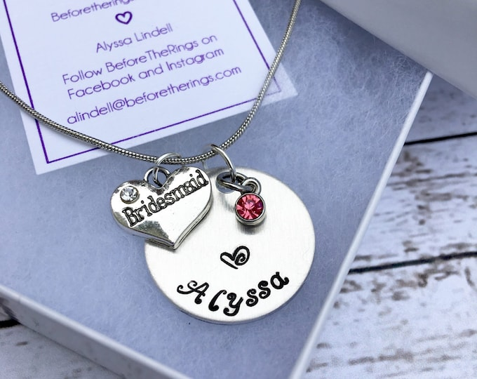 Bridesmaid Hand Stamped Necklaces with Name and Charms - Proposal Jewelry - Bridal Party Proposals