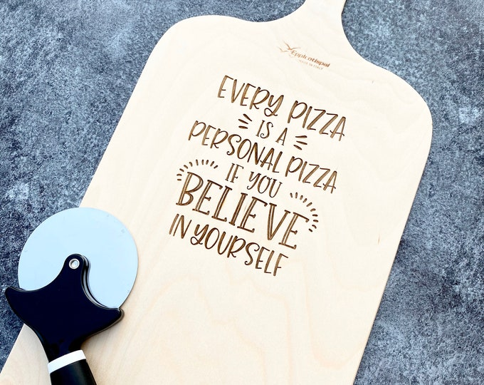 Pizza Lovers Gift - Wood Engraved Pizza Peel Gift - Personalized Pizza Tray Add Name - Pizza Cutter Included