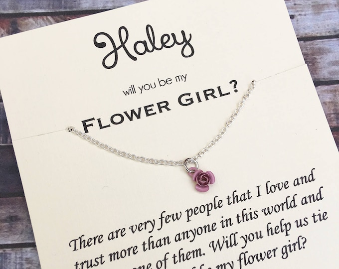 Will you be my flower girl necklace - Proposal Jewelry - Bridal Party Proposals