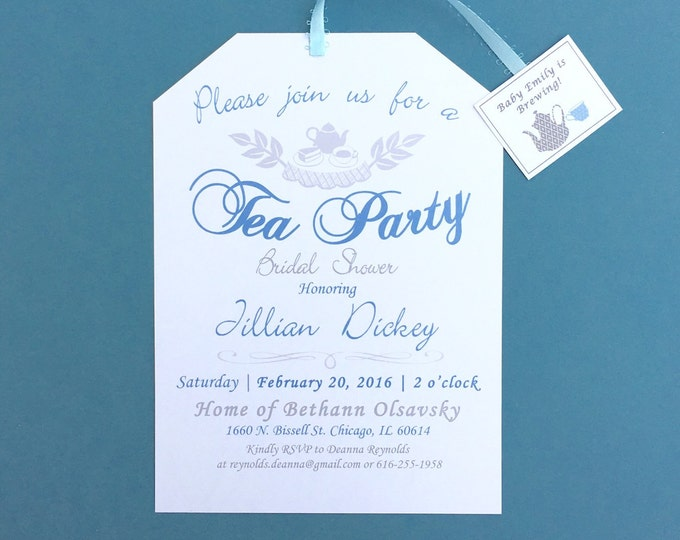 Tea Party Shower Invitations -Customizable