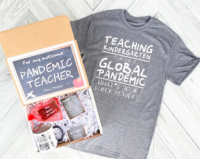 Pandemic Teacher gift Box - Personalized Teacher Gift Box - Quarantine Teacher Gift Set with Shirt, Teacher Mug, and/or Bracelet