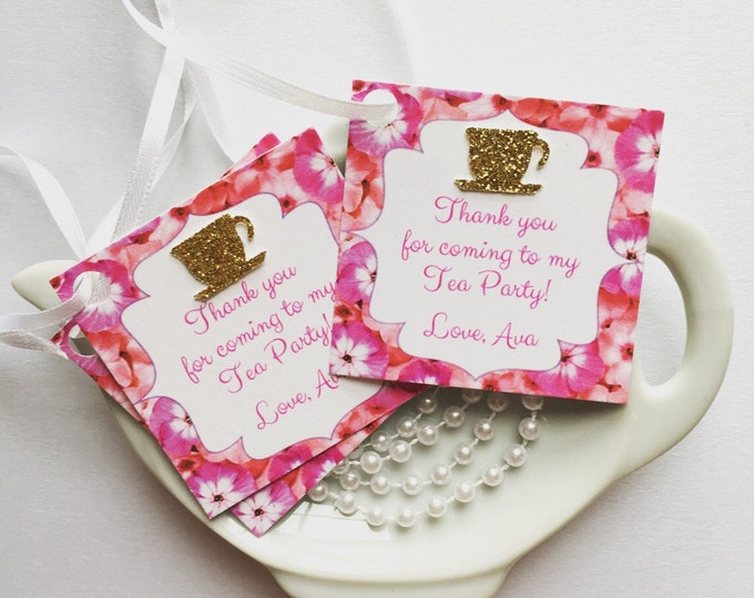 12 Tea Party Thank you/Favor Tags for any occasion!