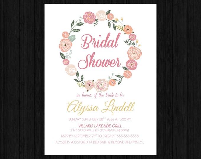 Digital Floral Bridal Shower Invitations - Elegant and Vintage Style
