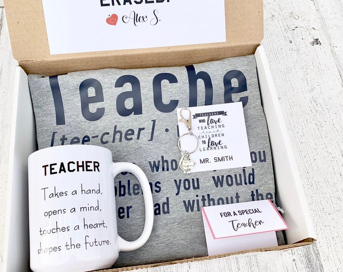 Teacher gift Set- Personalized Teacher Gift - Teacher Gift Set with Shirt, Teacher Mug, and keychain