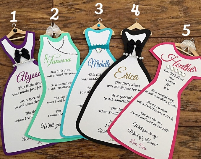 Bridesmaid Dress Cards