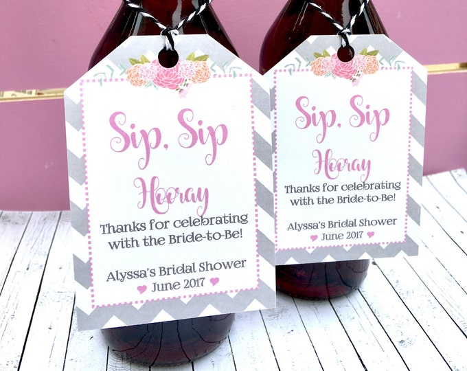 Pink and Gray Chevron Favor Tags for Small Wine or champagne Bottles - Customizable Tags - Sip Sip Hooray - Bridal Shower Favors - Wedding F
