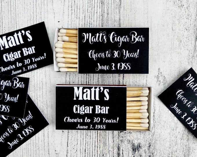 Matches Favor Labels SELF PRINT - Black and White Matchbox Favors - Birthday Matchbox Favors - Customizable