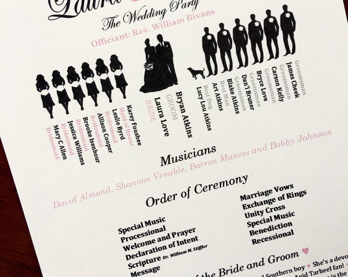 Silhouette Wedding Ceremony Programs Ivory Backing