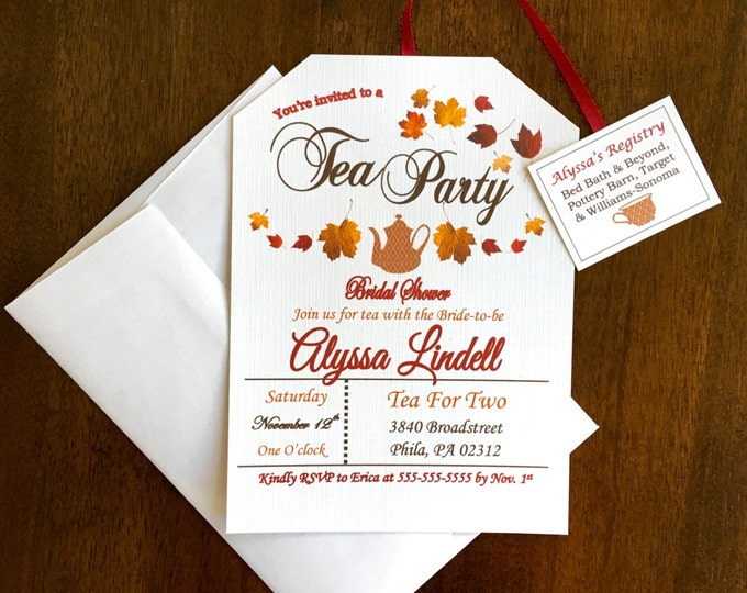 Fall Themed Tea Party Invitation Autumn Tea