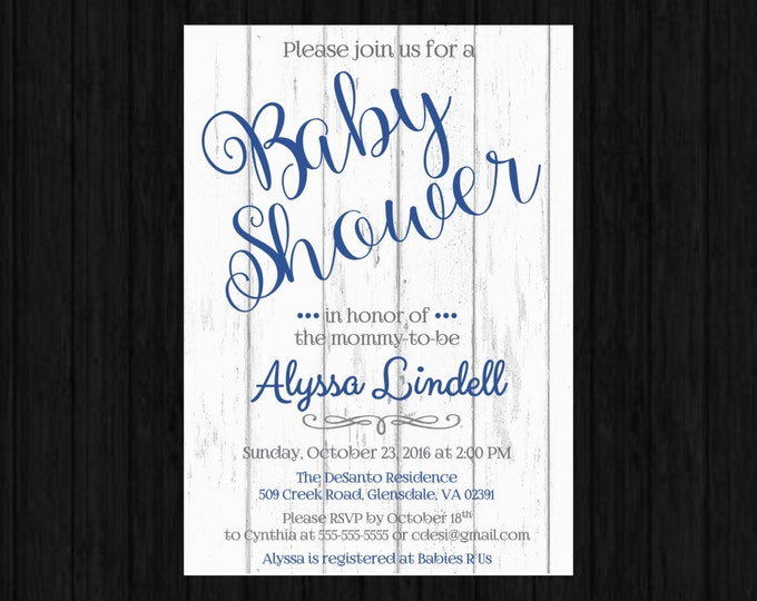 Self Print Baby Shower Invitations with wood panel background