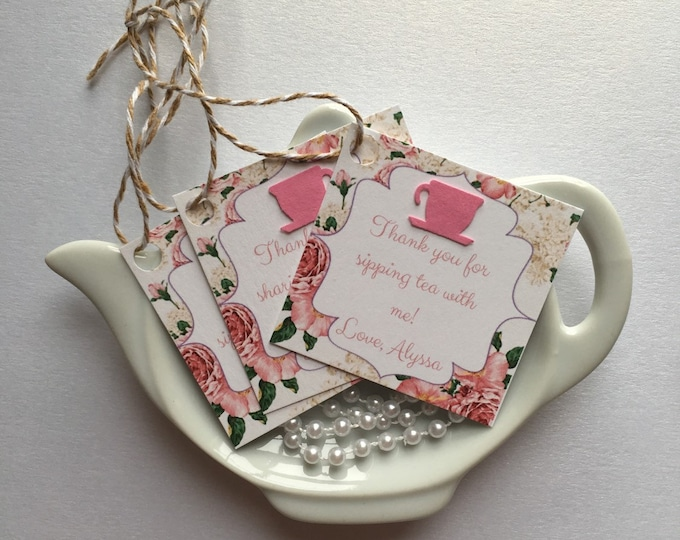 12 Tea Party Thank you/Favor Tags for bridal or baby showers