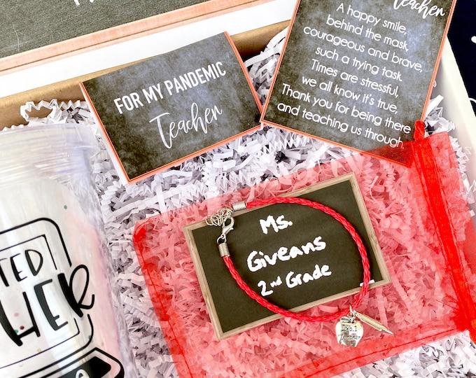 Pandemic Teacher Gift Set - Personalized Teacher Gift Box - Quarantine Teacher Gift Set with Shirt, Teacher Tumbler, and/or Bracelet