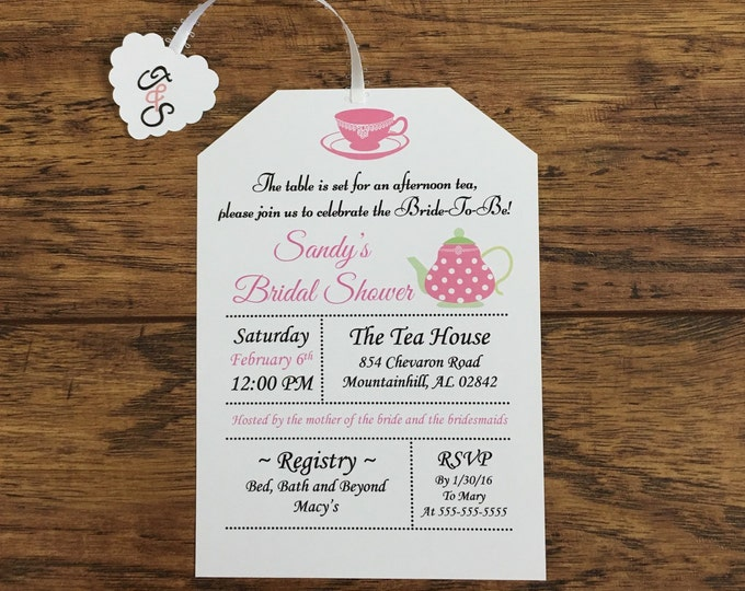 Tea Party Bridal Shower Invitations- Love is Brewing- Heart Tea Tag